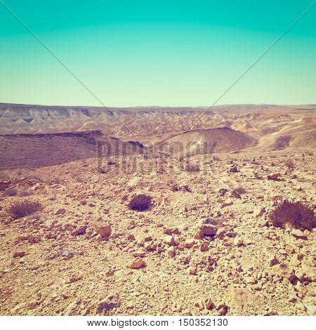 Rocky Hills of the Negev Desert in Israel Instagram Effect