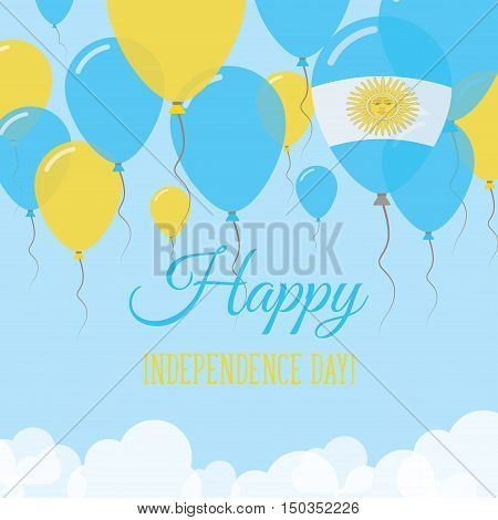 Argentina Independence Day Flat Greeting Card. Flying Rubber Balloons In Colors Of The Argentinean F