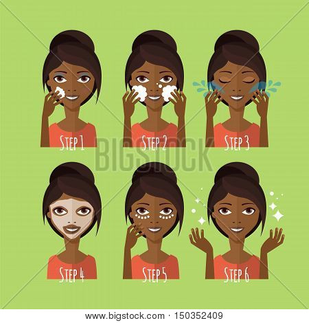 Skin Care Concept. Young Black Woman Cleaning And Care Her Face. Facial Treatment Procedures
