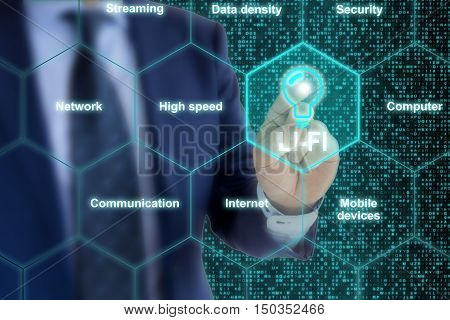 IT expert in a blue suit touches a Lifi symbol in a hexagon grid surrounded by topic related words like high speed or communication