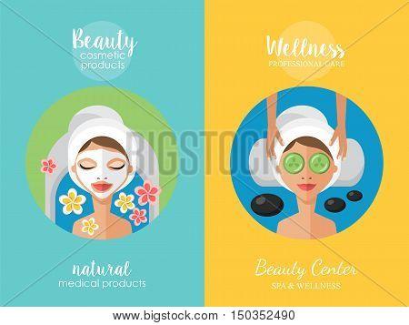 Beauty Salon And Wellness Center Concept. Face Mask And Beauty Treatment Procedure Set.