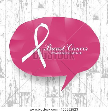 Breast Cancer Awareness Month Banner. Logo for poster. Message for women. On wooden planks texture