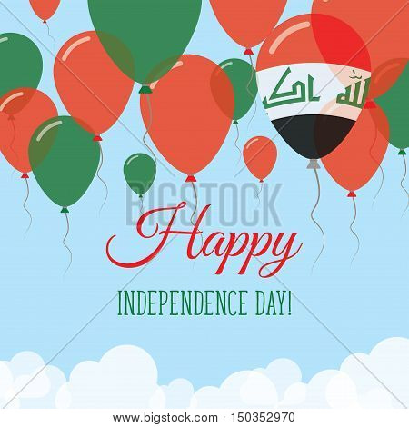 Iraq Independence Day Flat Greeting Card. Flying Rubber Balloons In Colors Of The Iraqi Flag. Happy