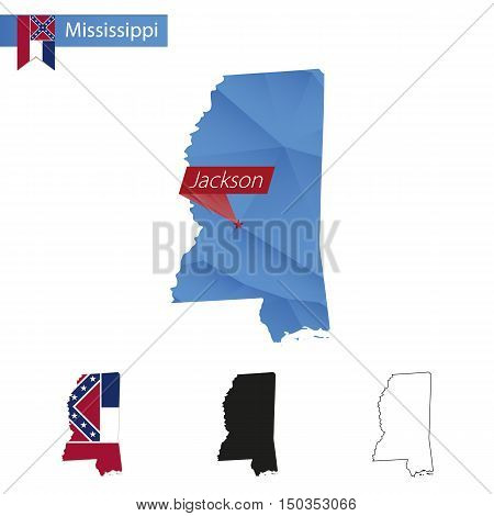 State Of Mississippi Blue Low Poly Map With Capital Jackson.