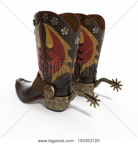 Decorative cowboy boot isolated on white background. 3D illustration