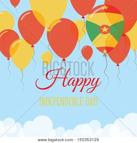 Grenada Independence Day Flat Greeting Card. Flying Rubber Balloons In Colors Of The Grenadian Flag.