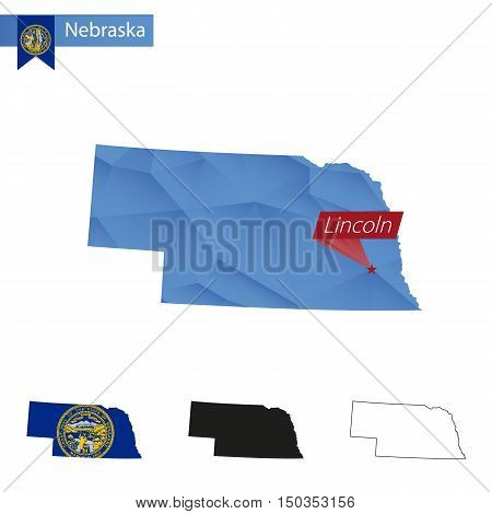 State Of Nebraska Blue Low Poly Map With Capital Lincoln.