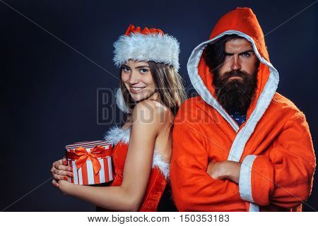 New Year Man And Girl