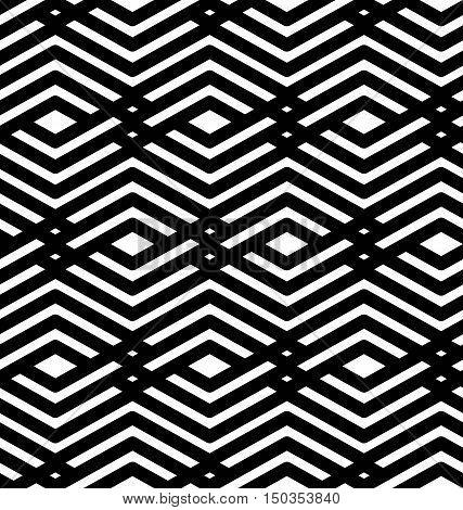 Black and white geometric art seamless pattern vector mosaic monochrome interweave background.