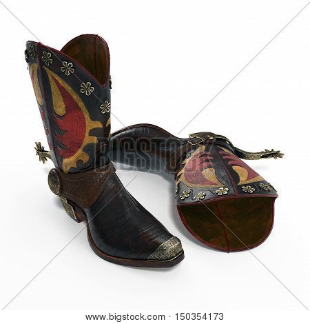 Old Leather Cowboy Boots Isolated on White background. 3D illustration