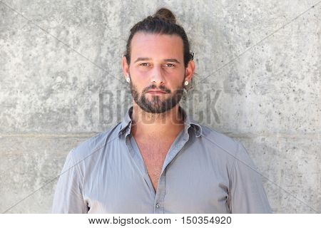 Serious Man With Beard Staring