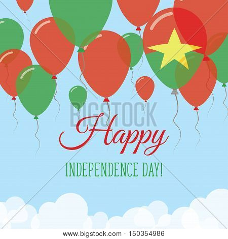 Burkina Faso Independence Day Flat Greeting Card. Flying Rubber Balloons In Colors Of The Burkinabe