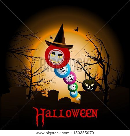 Bingo Ball with Halloween Face and Hat Over Graveyard with Moon Background