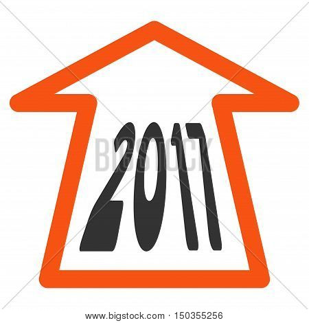 2017 Ahead Arrow vector pictograph. Style is flat graphic symbol, orange and gray colors, white background.