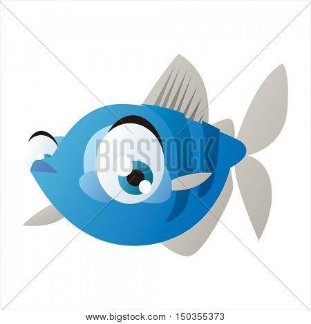 vector cute isolated animal character illustration. Funny aquarium tropical exotic fish