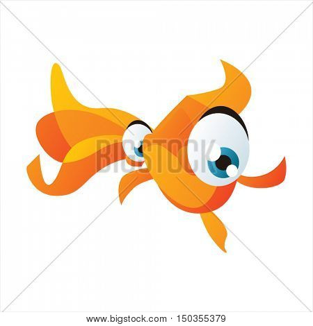 vector cute isolated animal character illustration. Funny aquarium tropical exotic fish