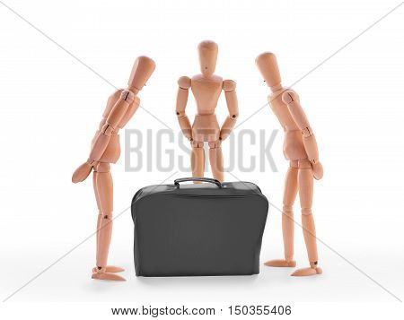 Three characters looking at black case. Isolated on white. New business case portfolio inspection suspect item or team task concept