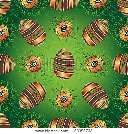 Easter seamless green pattern with painted striped gradient eggs and flowers vector