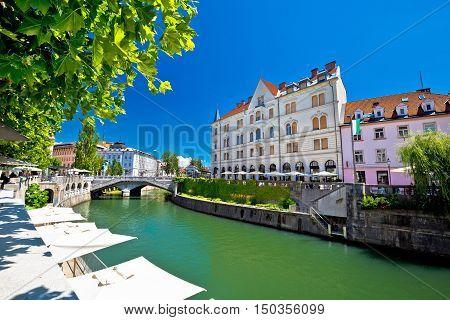 Ljubljana city center on green Ljubljanica river capital of Slovenia