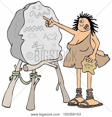 Illustration of a cave woman pointing to petroglyphs scratched into a boulder blackboard.