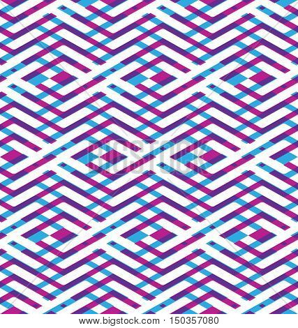 Purple rhythmic textured endless pattern continuous creative textile geometric motif background with zigzag lines.