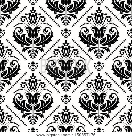 Seamless classic vector black and white pattern. Traditional orient ornament