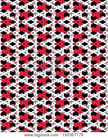 Red messy abstract seamless pattern with interweave lines. Vector ornament endless decorative background visual effect geometric tracery with rhombs.