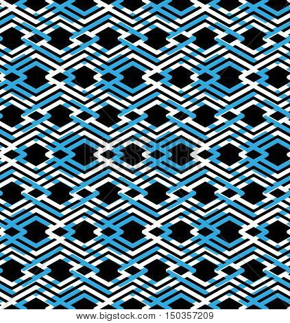 Blue abstract seamless pattern with interweave lines. Vector ornament endless decorative background visual effect geometric tracery with rhombs.