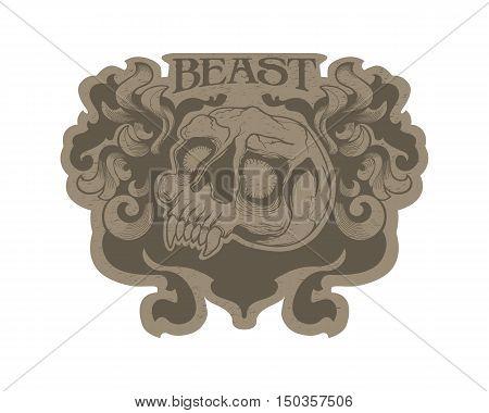 T-shirt design print flourish skull beast tattoo