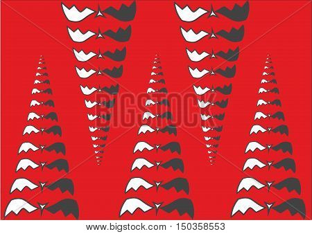 This is an Abstract illustration of pyramids, cones or fangs from bat. Red background. Halloween concept.