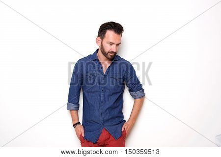 Good Looking Mature Guy Posing With Hands In Pocket
