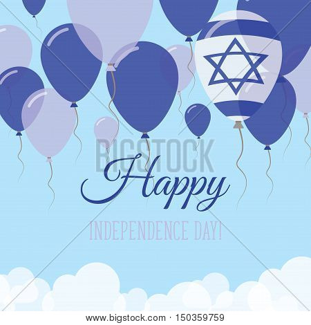 Israel Independence Day Flat Greeting Card. Flying Rubber Balloons In Colors Of The Israeli Flag. Ha