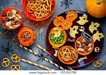 Traditional snack for Halloween healthy and delicious party snacking top view