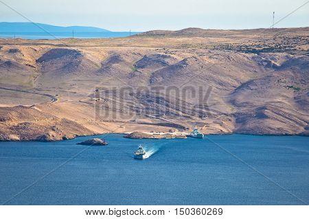 Island of Pag stone desert and ferry port view Dalmatia Croatia