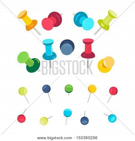 Set of push pins in different colors on white background. Office push pins symbols. Flat push pin clips. Head push pins. Thumbtacks. Pins stationery products. Needles and tacks. Vector illustration.