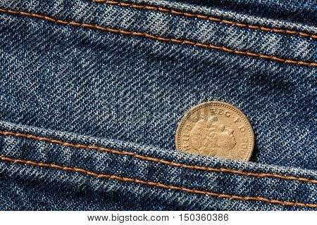 British coin in jeans pocket. One pound
