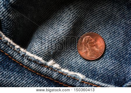 American coin in old  jeans pocket. One cent
