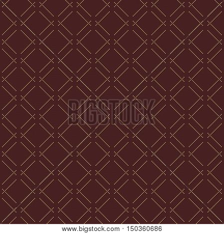Geometric brown and golden dotted vector pattern. Seamless abstract modern texture for wallpapers and backgrounds