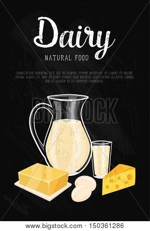 Dairy banner with natural food composition isolated on black background, vector illustration. Healthy nutritious concept with butter, eggs, milk, yoghurt, cheese, kefir. Organic farming concept.