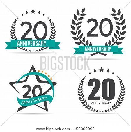Template Logo 20 Years Anniversary Set Vector Illustration EPS10