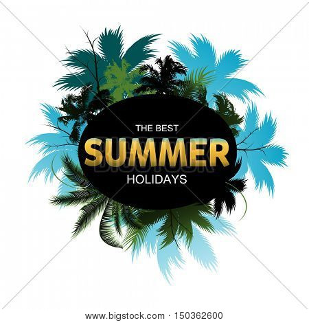 Summer Tropical Exotic Leaves and Branches composition with gold yellow lettering
