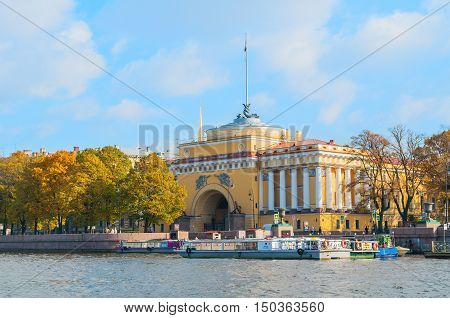ST PETERSBURG RUSSIA-OCTOBER 3 2016. Admiralty arch on the embankment of Neva river in St PetersburgRussia. Architecture landmark of St Petersburg in autumn sunny day