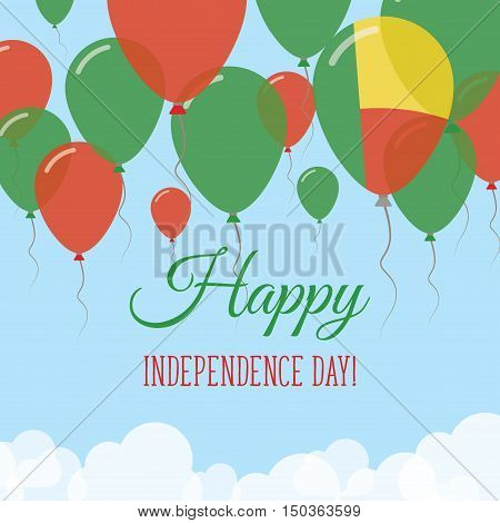 Benin Independence Day Flat Greeting Card. Flying Rubber Balloons In Colors Of The Beninese Flag. Ha