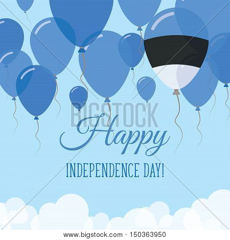 Estonia Independence Day Flat Greeting Card. Flying Rubber Balloons In Colors Of The Estonian Flag.