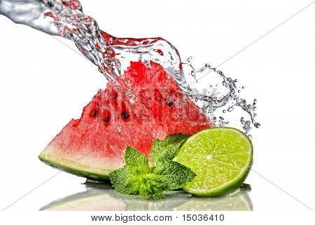 watermelon, lime, mint and water splash isolated on white