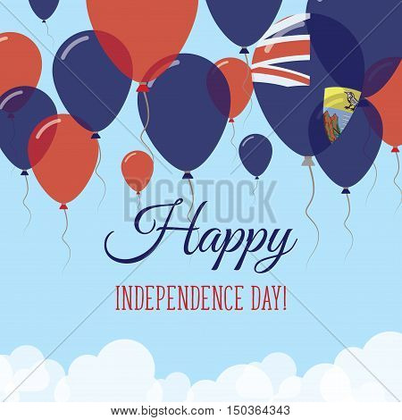 Saint Helena Independence Day Flat Greeting Card. Flying Rubber Balloons In Colors Of The Saint Hele