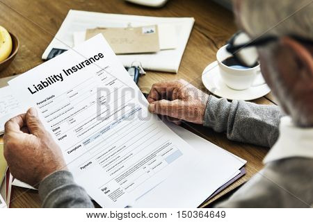 Liability Insurance Money RIsk Form Document Concept