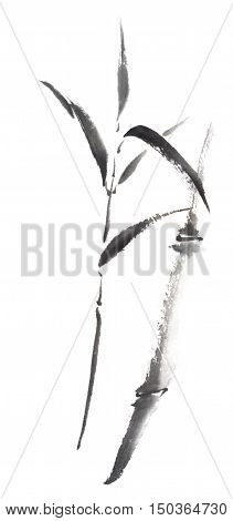 Bamboo scroll Japanese style original sumi-e ink painting. Great for wall art, greeting cards or texture design.