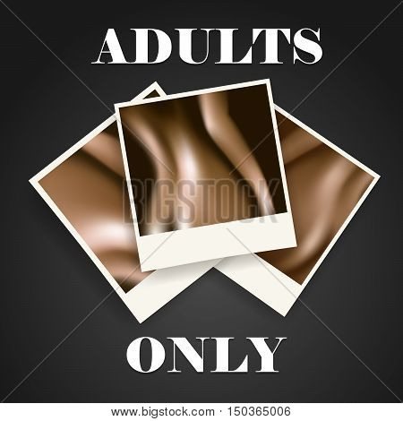 Realistic photo frames with naked body parts. Adults only concept. Vector illustration.