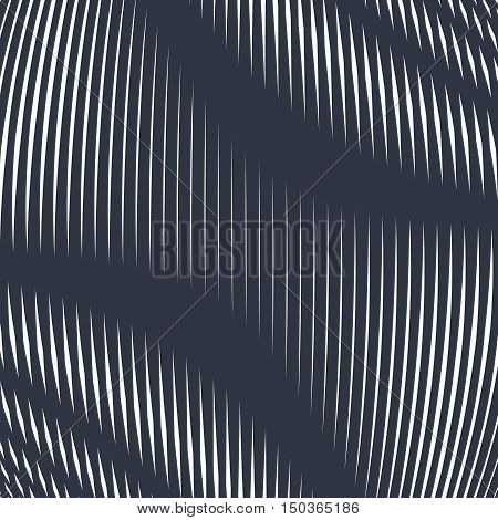 Op art moire pattern. Relaxing hypnotic background with geometric black lines.